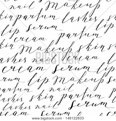 Pattern with handwritten words about beauty, cosmetics and makeup. Black text on a white background.