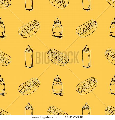 Hotdog seamless texture. Fast food pattern. Continuous background from hand drawn sketches. Hot dogs and plastic bottles with mustard and mayonnaise. EPS8 vector illustration includes pattern swatch.