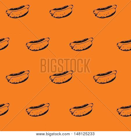 Hotdogs seamless pattern background. Fast food continuous texture with hand drawn hot dogs with mustard or mayonnaise. EPS8 vector illustration with pattern swatch included.