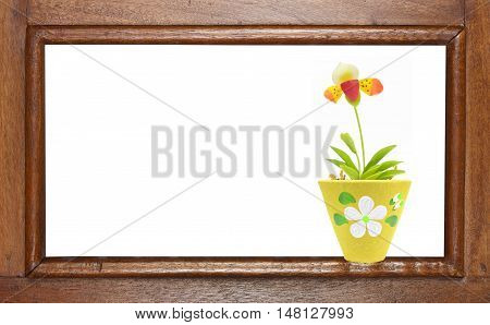 ancient golden teak window with flower on white