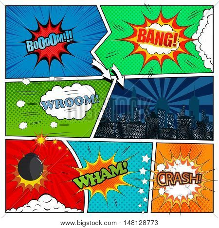 Set of comic book design elements. Vector illustration with speech bubbles, clouds, night city, bomb, explosions, arrows, stars, halftone, radial and dotted backgrounds. Pop-art style