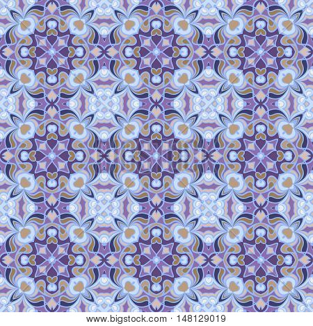 Decorative seamless pattern in oriental style. Square elements for design textiles or paper. Vector illustration. You can repaint.