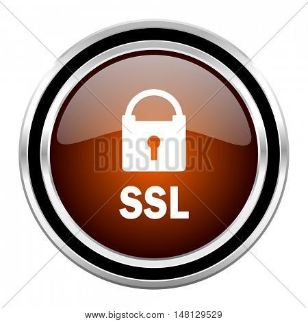 ssl round circle glossy metallic chrome web icon isolated on white background