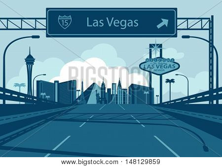 Vector Las  Vegas skyline with freeway sign