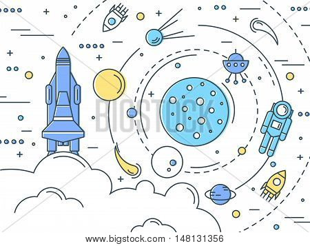 Space line art design with galaxy and astronaut launch of shuttle satellites and rockets vector illustration poster