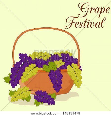 Grape Festival. Wine Festival. Grape frame for typography design. White and red grape.