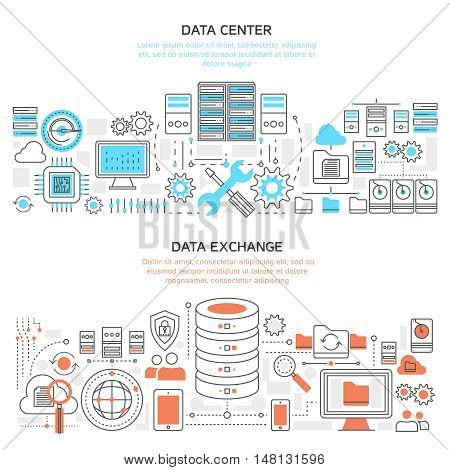 Datacenter horizontal linear banners with hardware and server protection global exchange of information isolated vector illustration