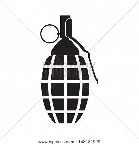 Hand grenade icon or sign isolated on white background.