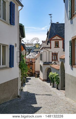 Rüdesheim am Rhein (UNESCO World Heritage), Germany - 1st of August, 2015: Perspective of a traditional alleyway in small winemaking town of Southern Germany