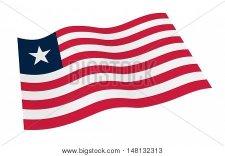 Liberia flag isolated on white background from world flags set. 3D illustration.