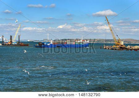Railway ferry leaves the Port of Kavkaz