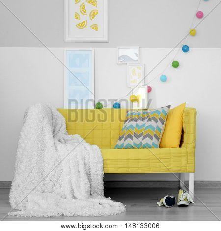 Modern room interior design with yellow sofa