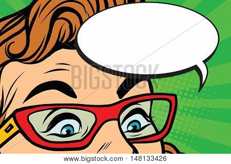 Woman in glasses surprised eyes, pop art retro vector illustration. Comic bubble