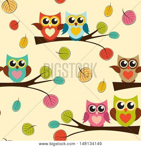 Cute Owl Seamless Pattern Background Vector Illustration EPS10
