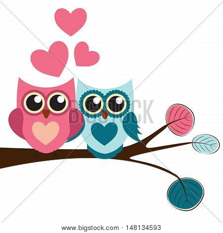Cute Owl Pattern Background for Valentines Day with Hearts and Place for Your Text Vector Illustration EPS10