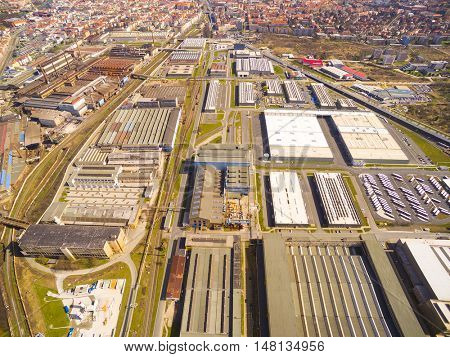Aerial view to industrial zone and technology park on Karlov suburb of Pilsen city in Czech Republic, Europe.