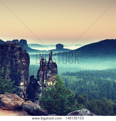 Autumn evening panorama view over sandstone rocks to fall valley of Saxony Switzerland. Sandstone peaks and hills increased from colorful background.