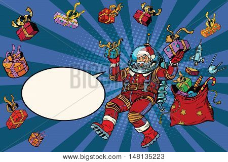 Space Santa Claus in zero gravity with Christmas gifts, pop art retro vector illustration. Blue cartoon background
