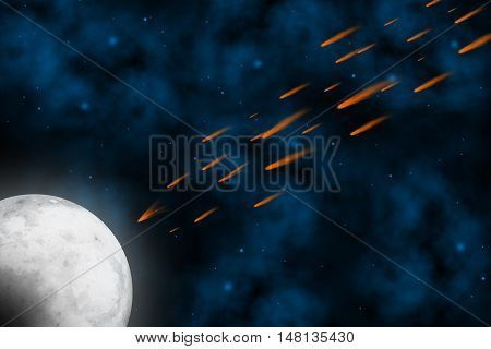 Scene Meteorite crashed the Moon in universe for background