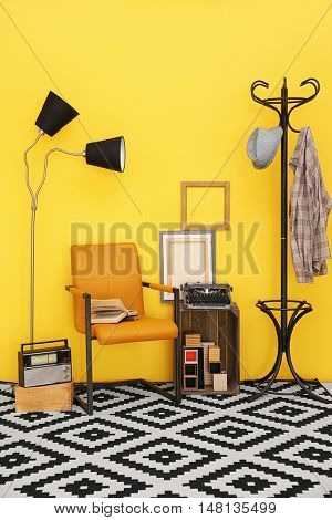 Modern room interior in vintage style