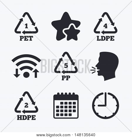 PET 1, Ld-pe 4, PP 5 and Hd-pe 2 icons. High-density Polyethylene terephthalate sign. Recycling symbol. Wifi internet, favorite stars, calendar and clock. Talking head. Vector