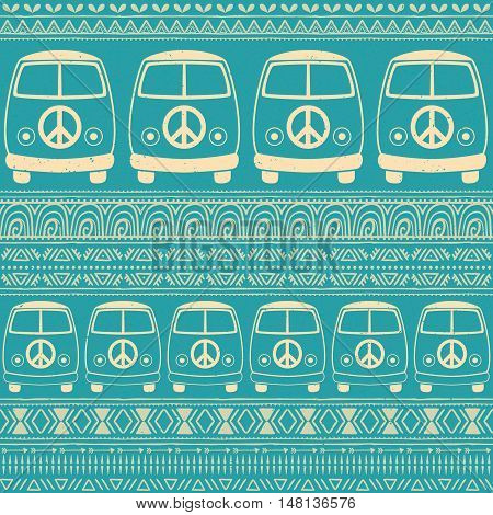 Hippie vintage car a minivan. Ornamental background. Love and Music with  textile doodle background and textures. Hippy color vector illustration. Retro 1960s, 70s style