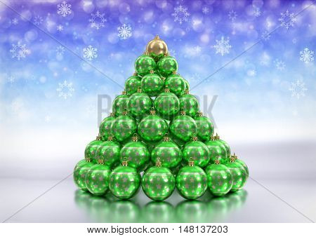 christmas theme background with green christmas bulbs on glossy floor and bokeh background with snowlakes. 3D render.