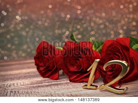 birthday concept with red roses on wooden desk. 3D render - twelfth birthday. 12th