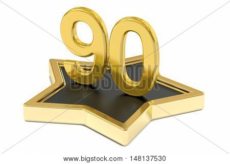golden number 90 on star podium award concept. 3D rendering isolated on white background