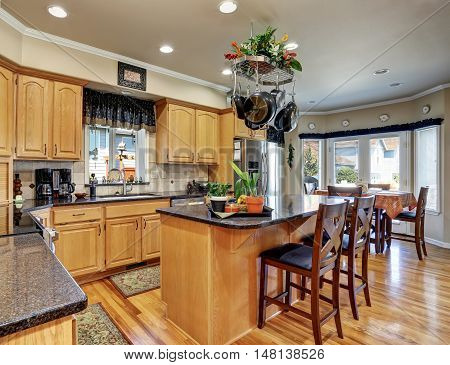 Kitchen And Dining Room Interior In Luxury House