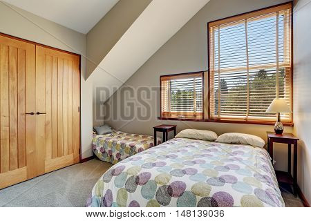 Cosy Upstairs Bedroom With Minimal Design And Closet.