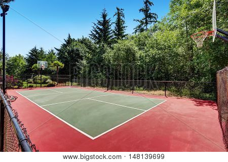 Private Basketball Court Of Suburban Luxury House