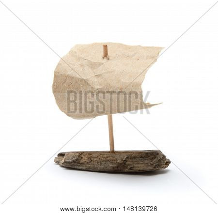 Ship made of paper and sliver isolated on white background