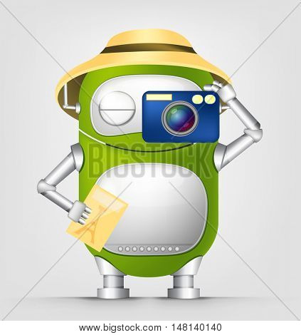 Cartoon Character Cute Robot Isolated on Grey Gradient Background. Tourist Photographer.