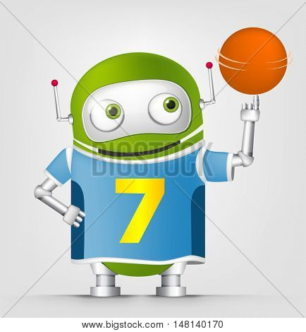 Cartoon Character Cute Robot Isolated on Grey Gradient Background. Basketball.