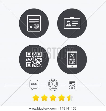 QR scan code in smartphone icon. Boarding pass flight sign. Identity ID card badge symbol. Chat, award medal and report linear icons. Star vote ranking. Vector