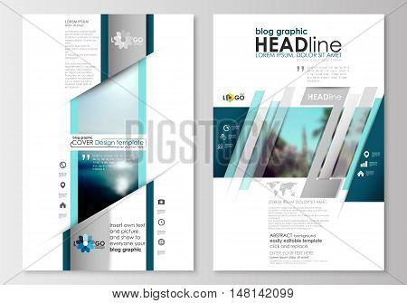 Blog graphic business templates. Page website design template, easy editable, abstract flat style travel decoration layout, easy editable vector template, colorful blurred natural landscape.