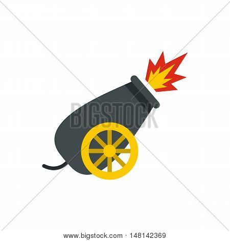 Cannon in the circus icon in flat style isolated on white background. Entertainment symbol vector illustration