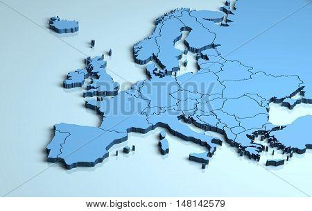 Europe 3D map shape blue illustration continent