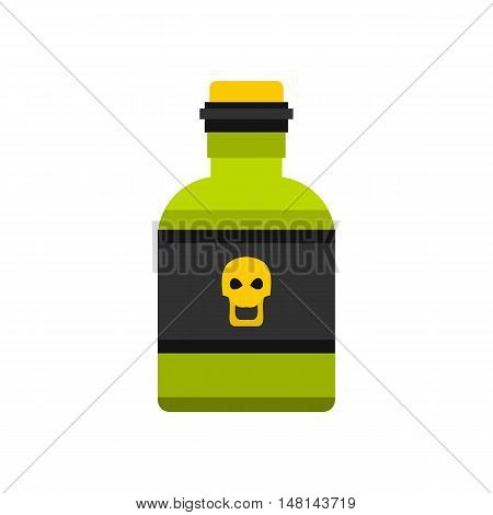Bottle of poison icon in flat style isolated on white background. Toxin symbol vector illustration