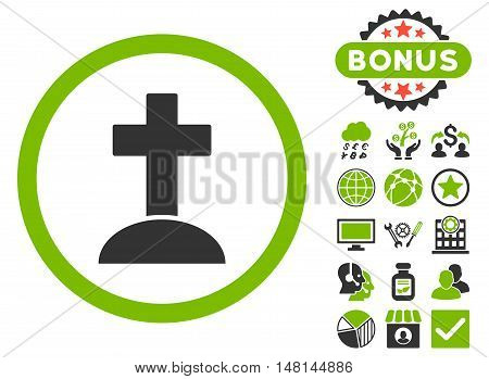 Grave icon with bonus symbols. Vector illustration style is flat iconic bicolor symbols eco green and gray colors white background.
