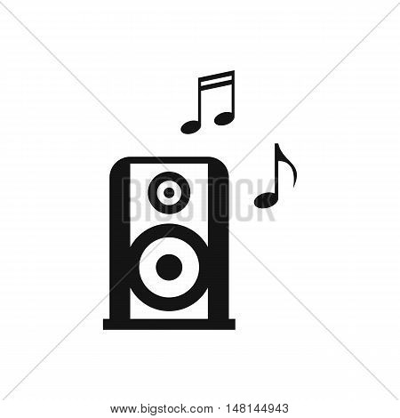 Portable music speacker icon in simple style isolated on white background. Device symbol vector illustration poster