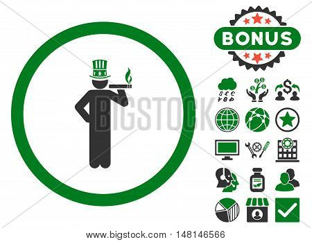 American Capitalist icon with bonus pictures. Vector illustration style is flat iconic bicolor symbols green and gray colors white background.