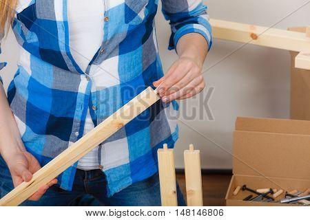 Human Assembling Wood Furniture. Diy.