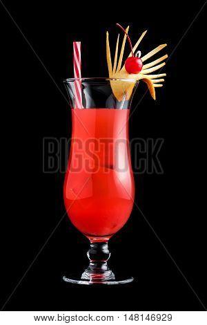 Singapore Sling Cocktails On Black Background