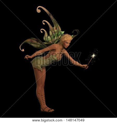 Fairy Anouk on Black 3D Illustration - A fairy is a creature of folklore and legend and has pointed long ears is small in stature and has wings.