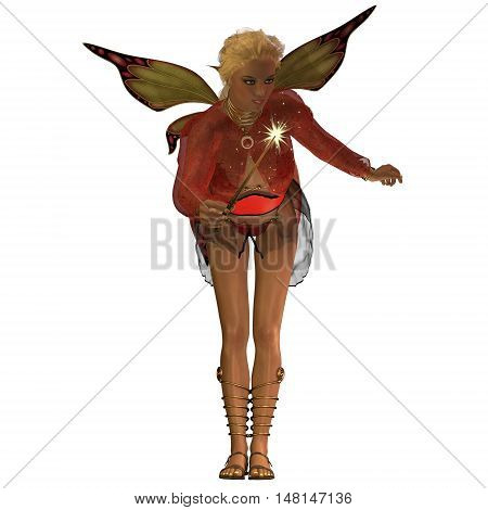 Fairy Anouk on White 3D Illustration - A fairy is a creature of folklore and legend and has pointed long ears is small in stature and has wings.