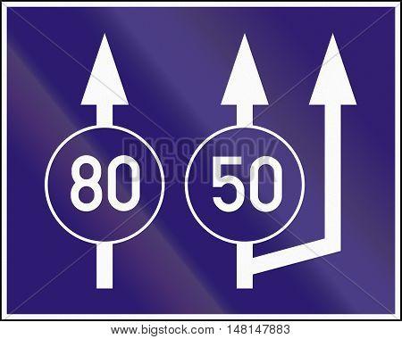 Informatory Hungarian Road Sign - Beginning Of Three Lanes With Minimum Speeds