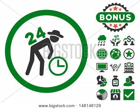 Around the Clock Work icon with bonus design elements. Vector illustration style is flat iconic bicolor symbols green and gray colors white background.