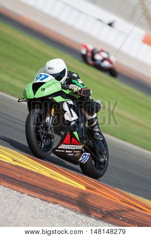 CHESTE, SPAIN - SEPTEMBER 17th: Alexandre Sirerol in SuperStock600 during Spanish Speed Championship at Cheste Circuit on September 17, 2016 in Cheste, Spain